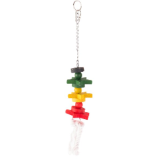 Bird Toy -Rope And Wood Tri Colour 30cm