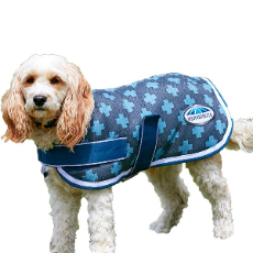 Dog Parka Charcoal Blue With Crosses