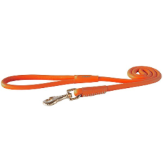 Rogz Leather Dog Lead Orange 1.2 meters long