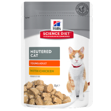 Hills Feline Pouch Neutered Cat /Young Adult Chicken 85g