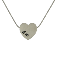 Pet Jewellery- Heart Paw Print Pewter
